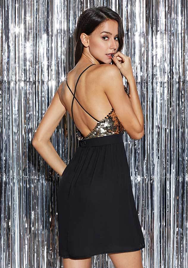 Gold Sequin Sling Back Crisscross Evening Pleated Club Dress | Edlpe