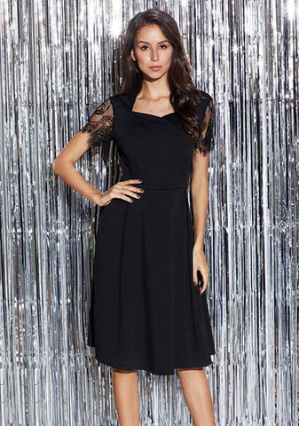 Casual Lbd Ruched Lace Gauze Sleeves Knee Length Dress | Edlpe