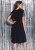 Image of Casual Lbd Ruched Lace Gauze Sleeves Knee Length Dress | Edlpe