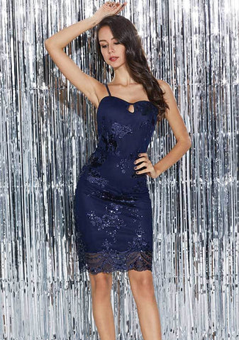 Sexy Keyhole Lace Blue Sequin Bodycon Party Dress | Edlpe