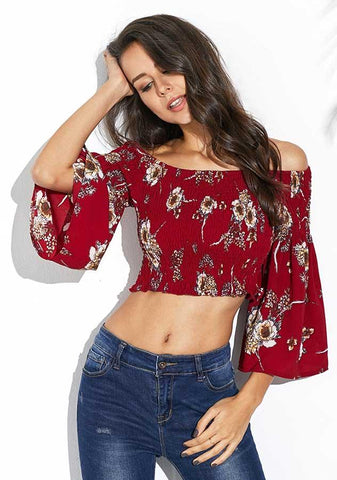Retro Flare Sleeves Crop Top Elastic Floral Slash Neck Blouse | Edlpe