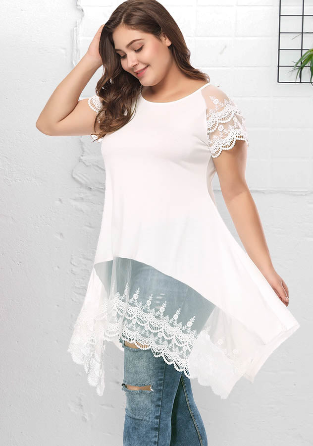 White Plus Size Lace Short Sleeves Irregular Loose Shirt | Edlpe