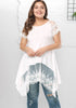 Image of White Plus Size Lace Short Sleeves Irregular Loose Shirt | Edlpe