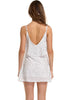 Image of Chiffon Wave Point Deep V-Back Slip Flowy Hem Mini Dress | Edlpe