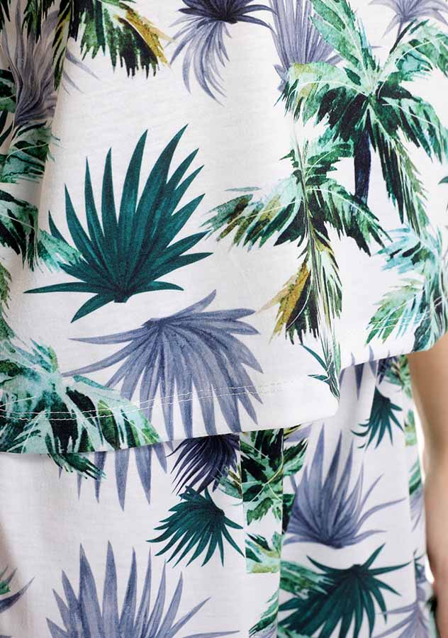 Two Pieces Tropical Palm Leaves Print Backless Summer Shorts Set | Edlpe