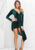 Image of Sexy Deep-V Kink Long Sleeves Asymmetric Green Velvet Dress | Edlpe
