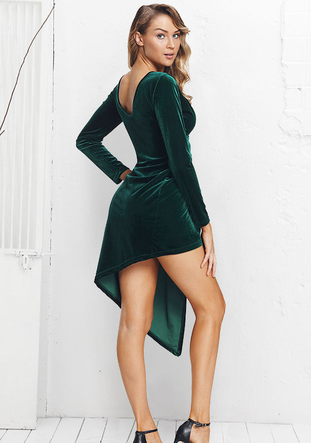 Sexy Deep-V Kink Long Sleeves Asymmetric Green Velvet Dress | Edlpe