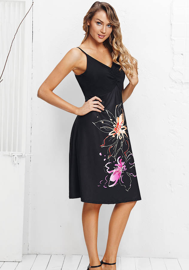 Casual V-Neck Floral Printed Strap Knee Length Holiday Dress | Edlpe