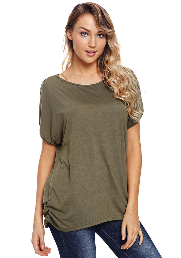 Concise Cold Shoulder Raglan Sleeves Back Lace-Up Blouse | Edlpe