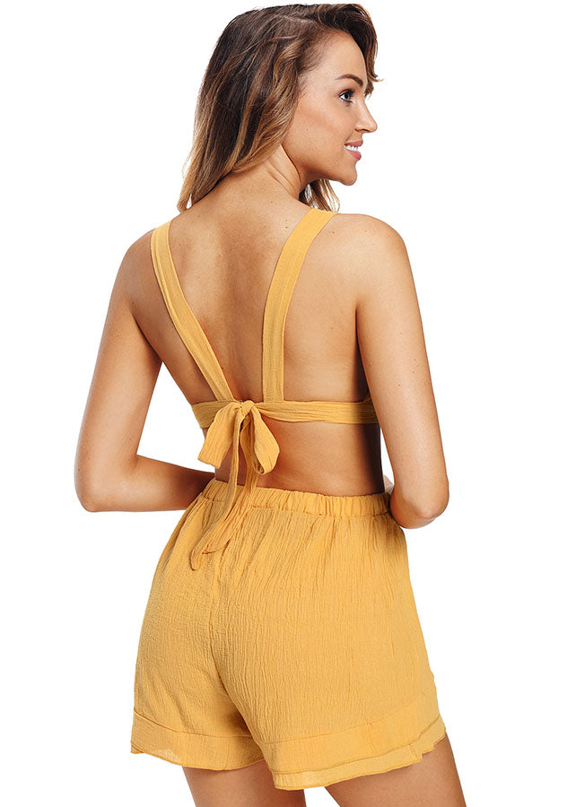 Beach Bow Front Back Tie Crop Top Elastic Shorts Two Pieces Suit | Edlpe