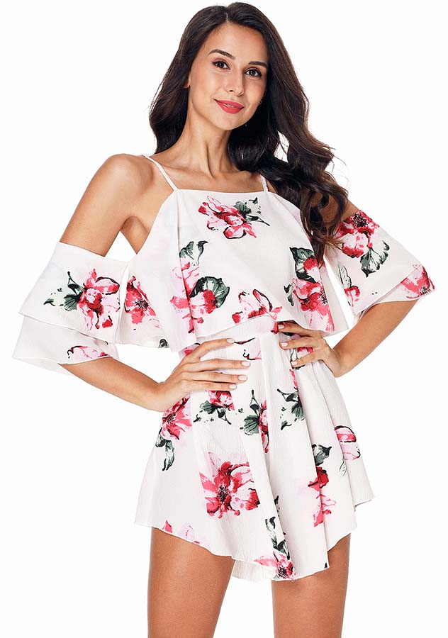 White Cold Shoulder Floral Printed Sleeves Chiffon Layer Romper | Edlpe