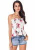Image of Chiffon Floral Elastic Bandeau Off Shoulder Flounced Crop Top | Edlpe