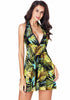 Image of Tropical Leaf Printed Halter Neck Backless Beach Mini Dress | Edlpe