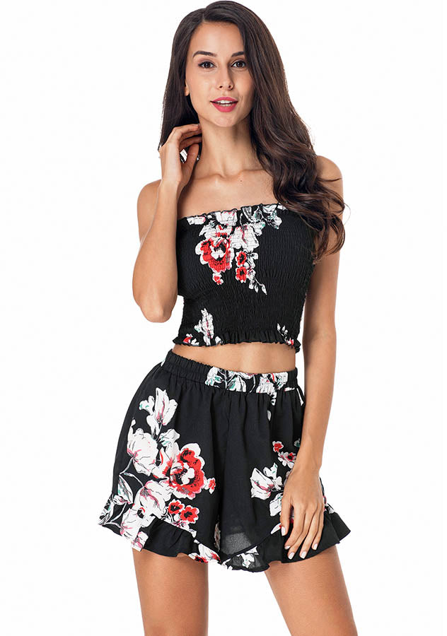 Vintage Floral Printed Elastic Bandeau Ruffle Hem Shorts Two Pieces Suit | Edlpe