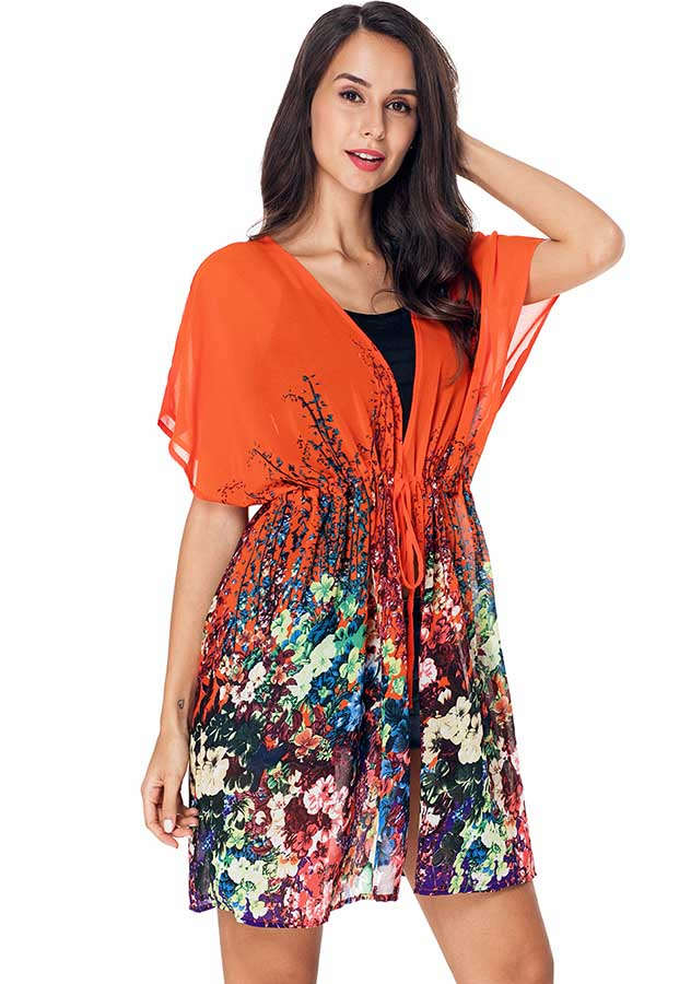 Chiffon Colorful Floral Midi Length Lace Up Beach Sunscreen Cardigan | Edlpe
