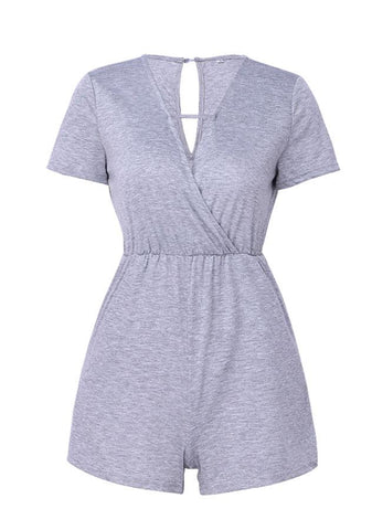 Daily V-Neck Short Sleeves Back Slit Romper | Edlpe