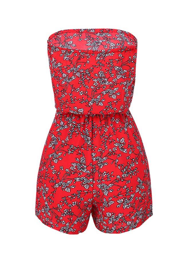 Casual Off Shoulder Floral Pattern Mini Romper | Edlpe
