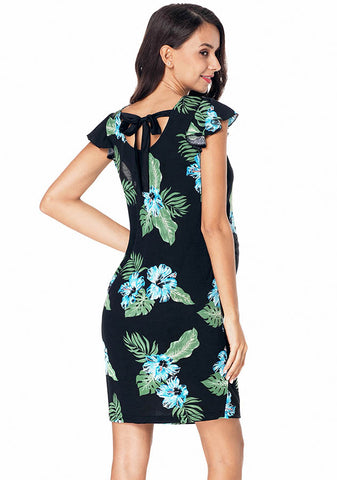 Maternity Flounced Sleeves Back Lace-Up Floral Leaf Pattern Dress | Edlpe