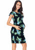 Image of Maternity Flounced Sleeves Back Lace-Up Floral Leaf Pattern Dress | Edlpe
