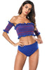 Image of Off Shoulder Sleeves Elastic Bandeau Two Pieces Swimwear | Edlpe