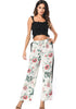 Image of White Elastic Floral Leaf Printed Side Stripe Wide Leg Pants | Edlpe