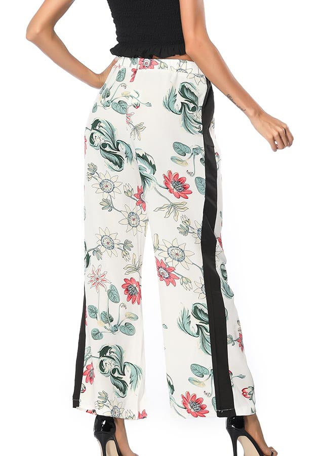 White Elastic Floral Leaf Printed Side Stripe Wide Leg Pants | Edlpe