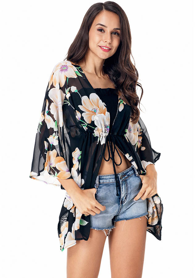 Batwing Sleeves Floral Beach Cover-Up Drawstring Perspective Summer Cardigan | Edlpe