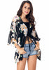 Image of Batwing Sleeves Floral Beach Cover-Up Drawstring Perspective Summer Cardigan | Edlpe