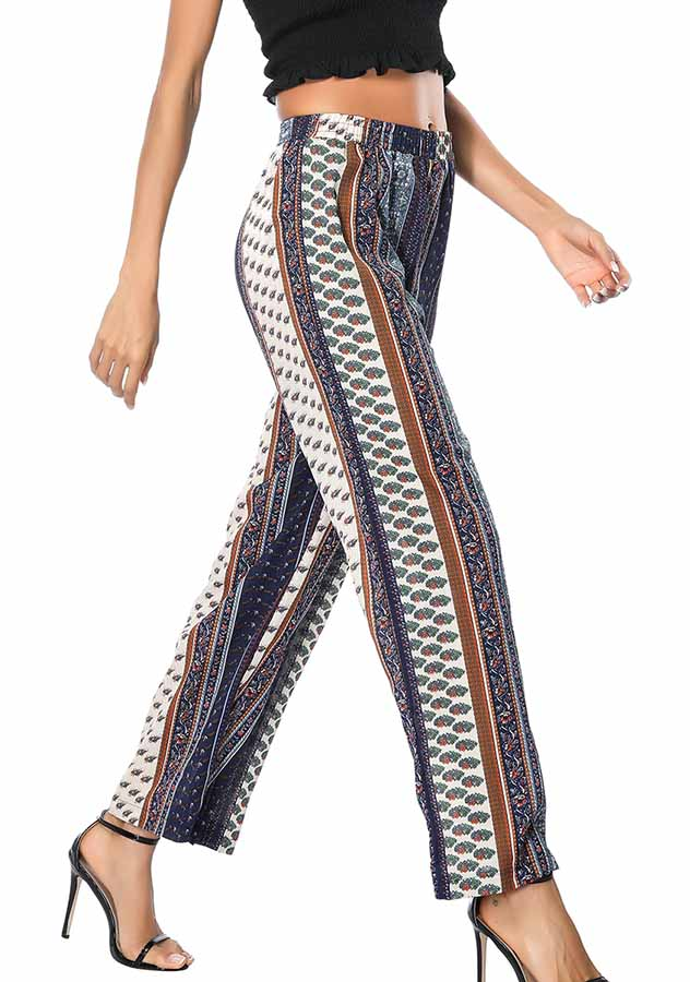 Women Holiday Bohemian Stripe Wide Leg Trousers | Edlpe