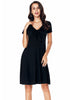 Image of Elegant Lbd V-Neck Slim Waist Short Sleeves A-Line Dress | Edlpe
