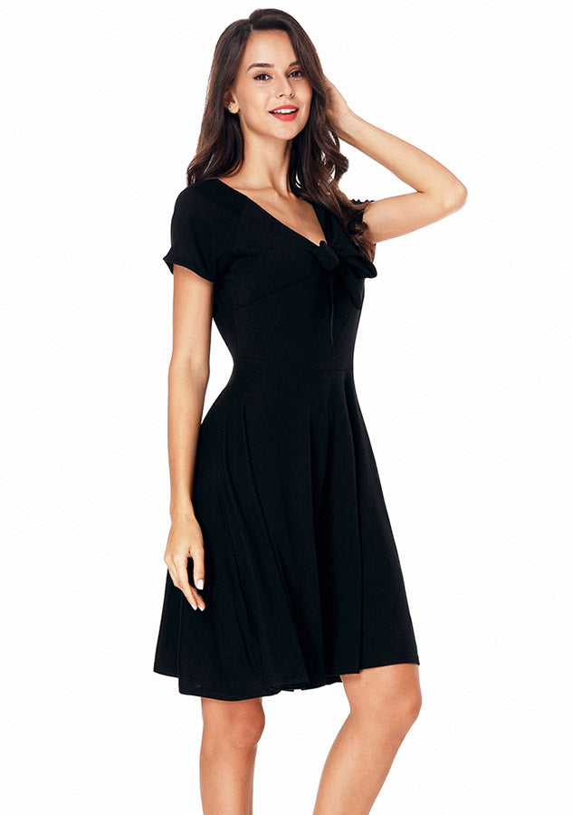 Elegant Lbd V-Neck Slim Waist Short Sleeves A-Line Dress | Edlpe