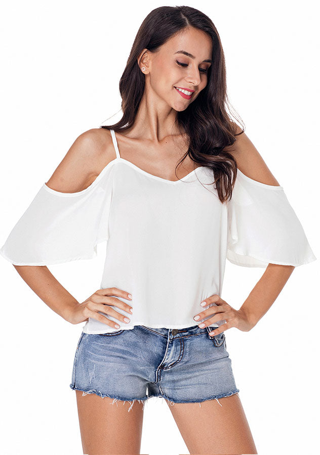 Casual Chiffon Pure Color Cold Shoulder Sling Sleeves Blouse | Edlpe