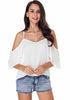 Image of Casual Chiffon Pure Color Cold Shoulder Sling Sleeves Blouse | Edlpe
