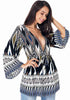 Image of Bohemian Geometric Printed Long Bell Sleeves Deep-V Drawstring Blouse | Edlpe