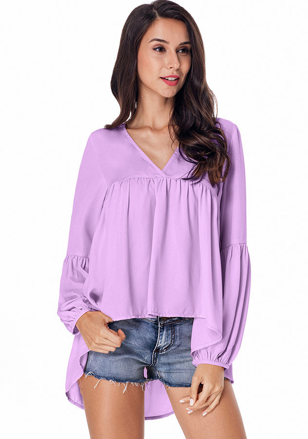 Chiffon Bubble Sleeves Pure Color V Neck High-Low Hem Blouse | Edlpe