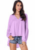 Image of Chiffon Bubble Sleeves Pure Color V Neck High-Low Hem Blouse | Edlpe