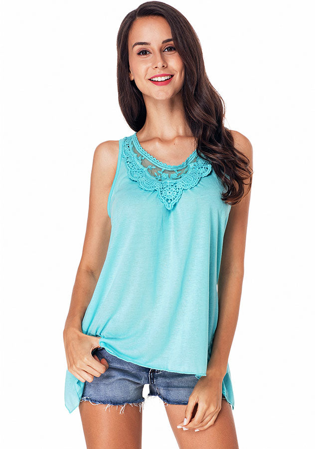 Summer Lace Stitching Scoop Neck Asymmetric Hem Vest Top | Edlpe