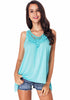 Image of Summer Lace Stitching Scoop Neck Asymmetric Hem Vest Top | Edlpe