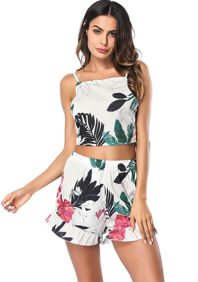 Holiday Leaf Printed Back-Tie Tank Top Flounced Hem Shorts Two Pieces Suit | Edlpe
