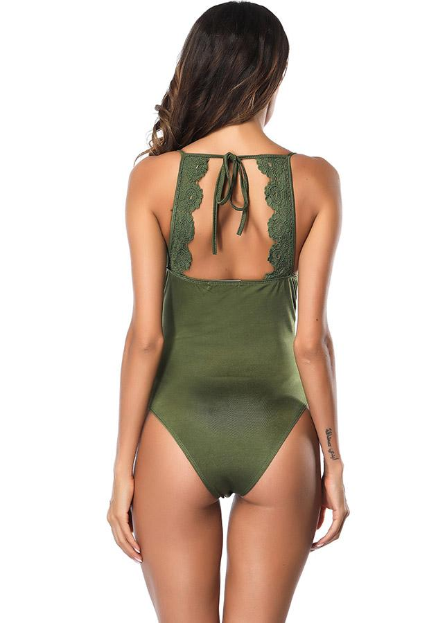 Scoop Neck Back-Lace Sling Open Back High Thigh One Piece Swimwear | Edlpe