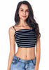 Image of Sexy Black White Stripe Vest Sling Back Bowknot Crop Top | Edlpe