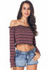 Image of Chic Colorful Stripe Long Sleeves Off Shoulder Ruffle Hem Crop Top | Edlpe