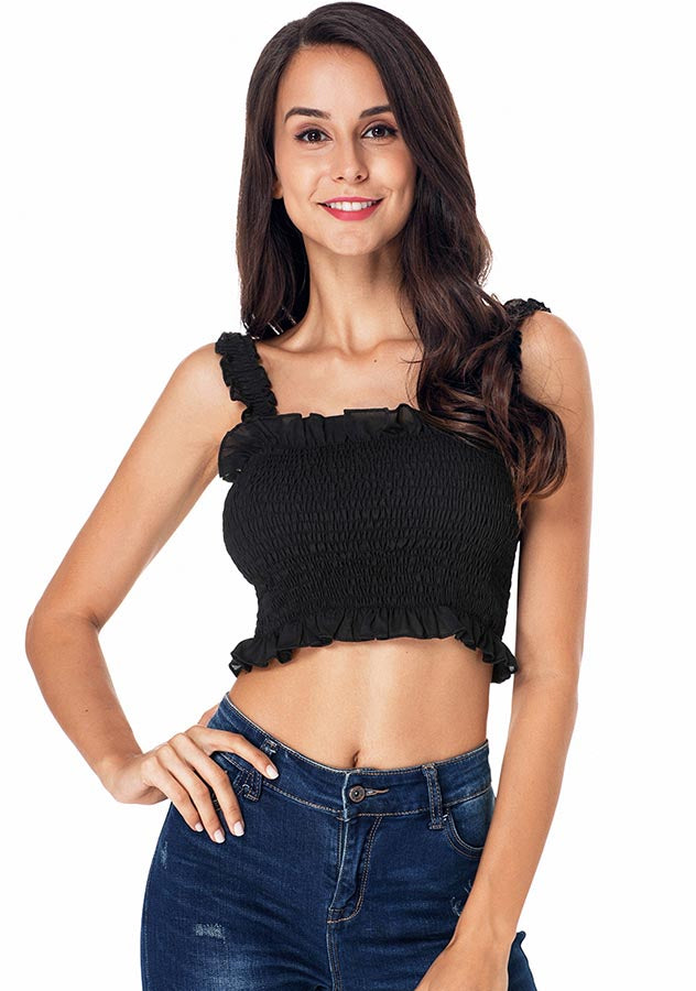 Sexy Ruffle Hem Elastic Bandeau Removable Strap Crop Top | Edlpe