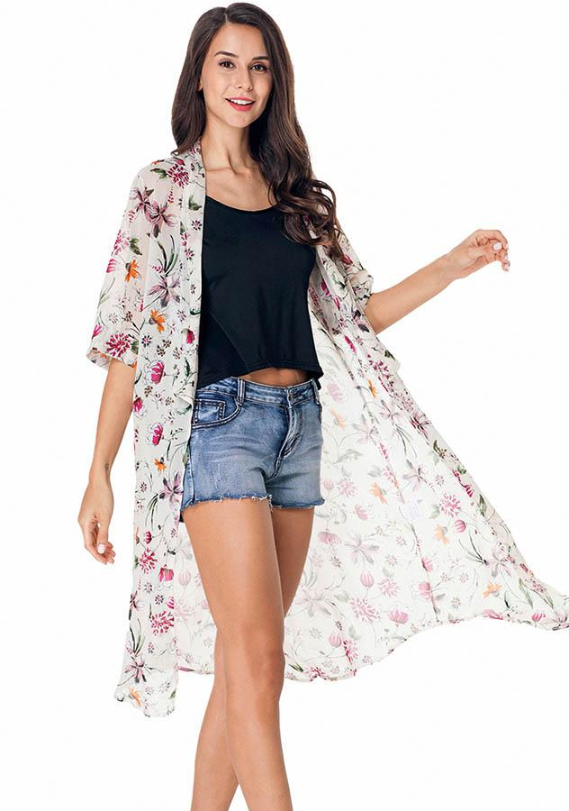 Beach Cover-Up Floral Leaf Printed See-Through Kimono Cardigan | Edlpe