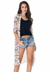 Beach Cover-Up Floral Leaf Printed See-Through Kimono Cardigan