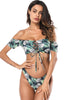 Image of Beach Palm Leaf Printed Off Shoulder Bandeau Lace Front Sleeves Bikini | Edlpe