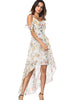 Image of Vacation Cold Shoulder Floral Sling Gauze Layer High-Low Dress | Edlpe
