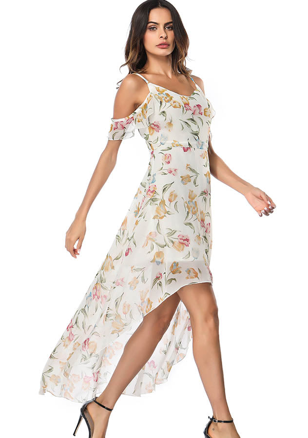 Vacation Cold Shoulder Floral Sling Gauze Layer High-Low Dress | Edlpe