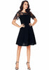 Image of Party Lbd Lace Stitching V-Back Short Sleeves High Waist Dress | Edlpe