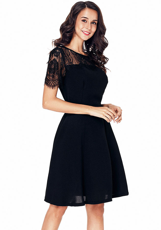 Party Lbd Lace Stitching V-Back Short Sleeves High Waist Dress | Edlpe